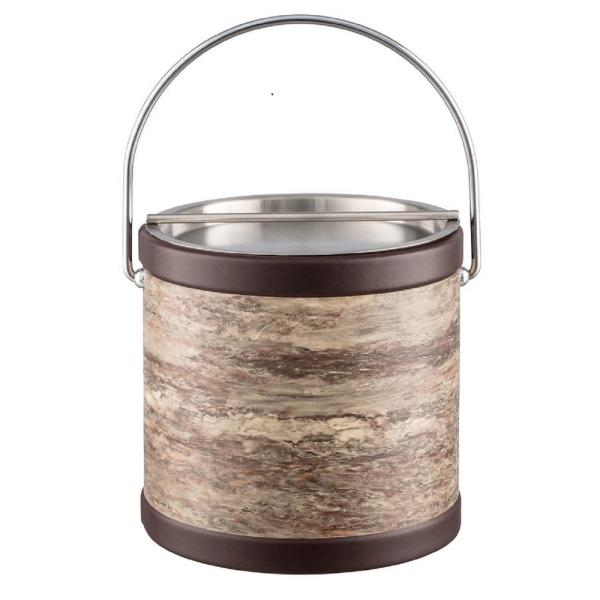 Kraftware Quarry Brown Stone 3 Qt. Ice Bucket with Bale Handle
