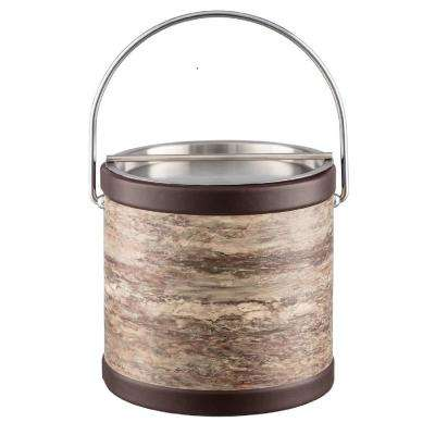 Brown Stone 3 Qt. Brown Ice Bucket with Bale Handle and Metal Bar Lid