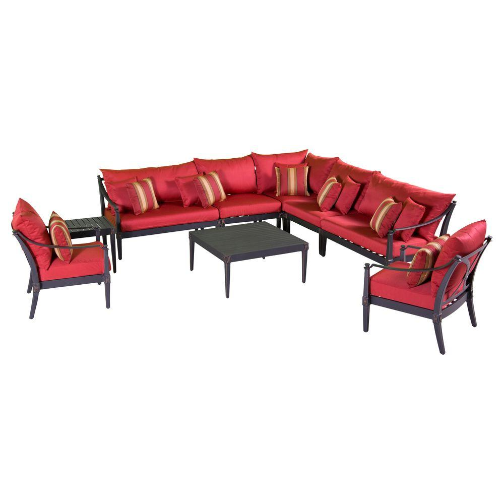 RST Brands Astoria 9-Piece Patio Seating Set with Cantina Red Cushions