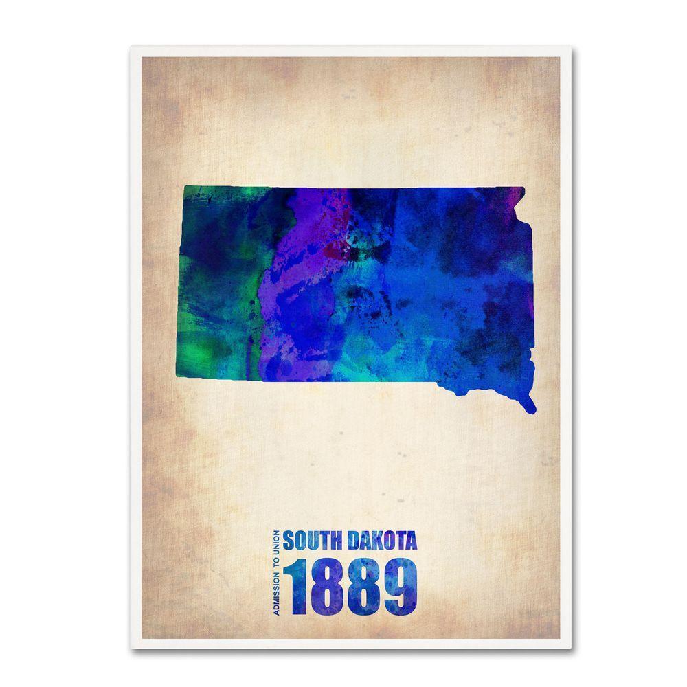Trademark Fine Art 19 in. x 14 in. South Dakota Watercolor Map Canvas Art