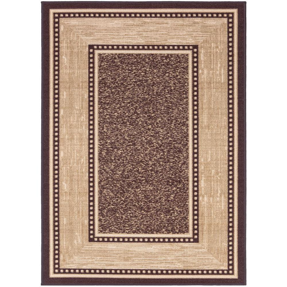 Ottomanson Contemporary Bordered Design Brown 5 Ft X 7 Non Skid Area