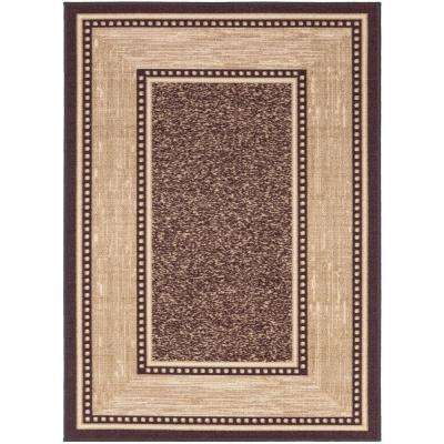 Contemporary Bordered Design Brown 5 Ft X 7 Non Skid Area Rug