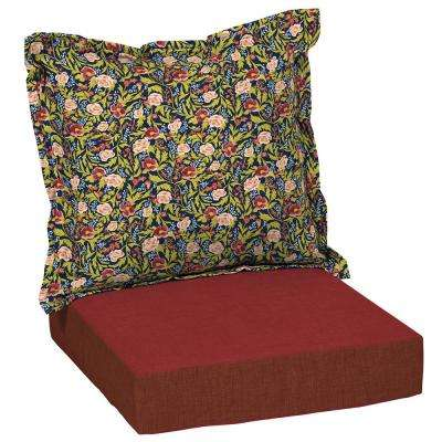 Artisans 45 in. x 24 in. Cecelia Floral Deep Seating Outdoor Lounge Chair Cushion Set