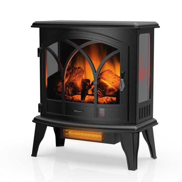 Suburbs 23 in. <bold>Black </bold>Freestanding Electric Fireplace Infrared Space Heater with Curved Door, Remote Control