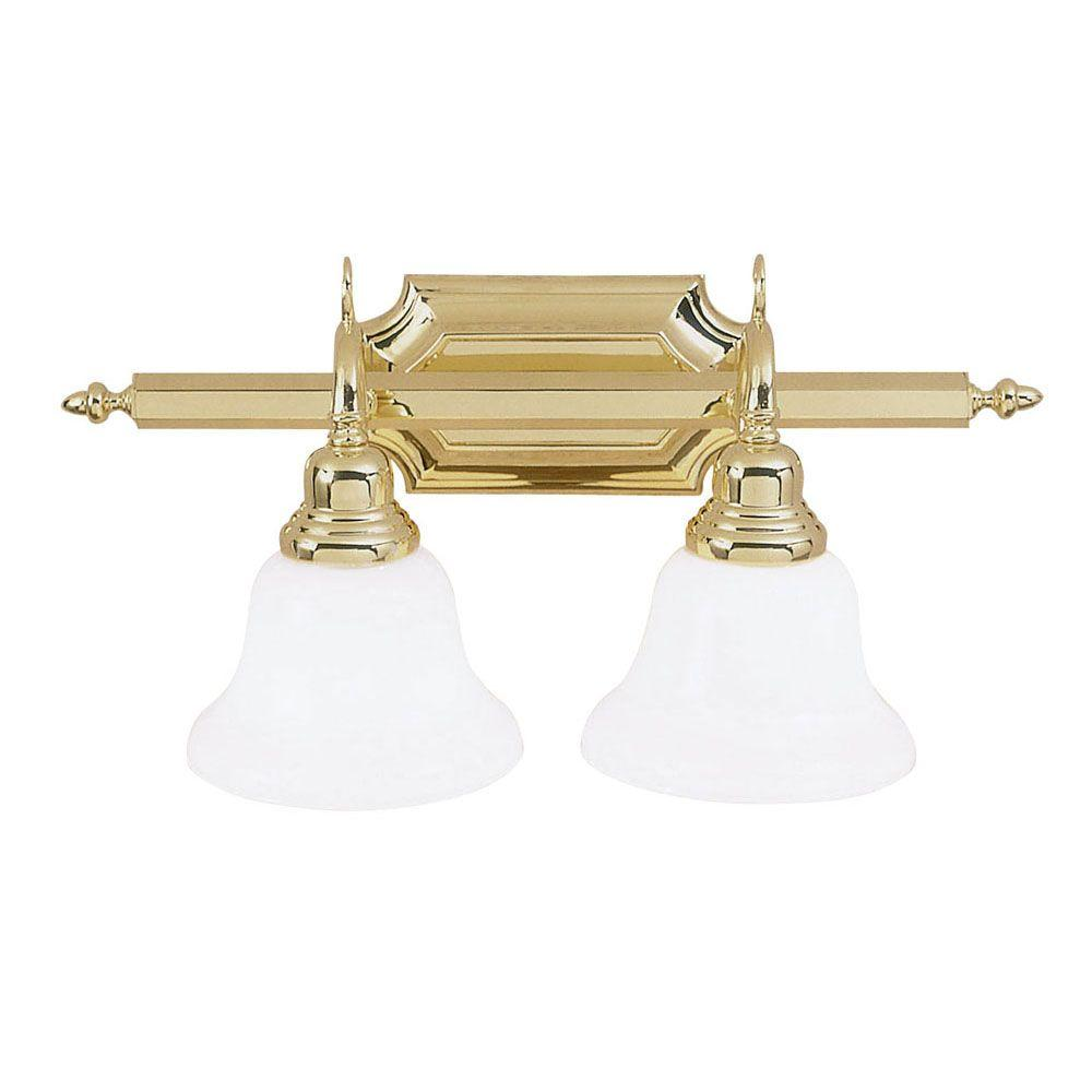 2-Light Polished Brass Medium Bath Vanity Light