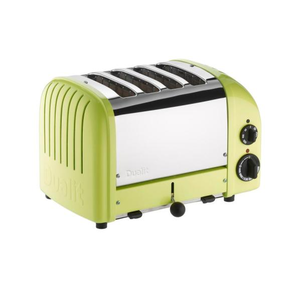 Dualit New Gen 4-Slice Lime Green Wide Slot Toaster with Crumb Tray