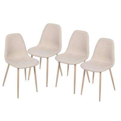 White Fabric Dining Side Chairs (Set of 4)