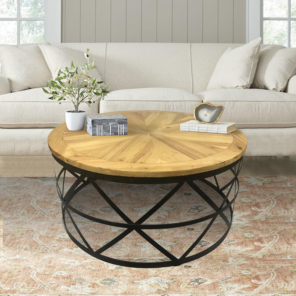 Industrial Reclaimed Wood Round Coffee Table