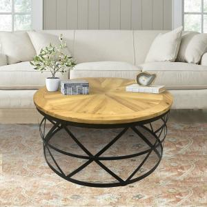 Industrial Reclaimed Wood Round Coffee Table by