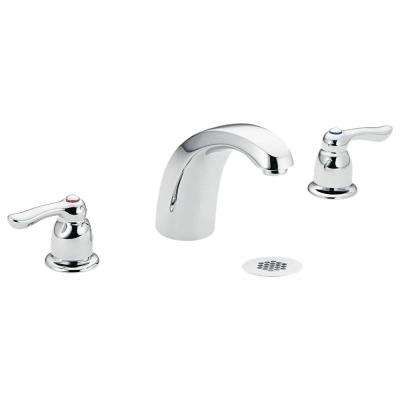 M-Bition 8 in. Widespread 2-Handle High-Arc Bathroom Faucet in Chrome with Grid Strainer Waste