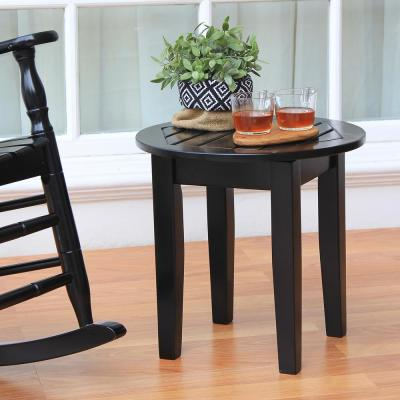 Alston Black Round Wood Outdoor Side Table
