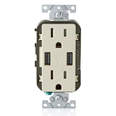 3.6A USB Dual Type A In-Wall Charger with 15 Amp Tamper-Resistant Outlets, Light Almond
