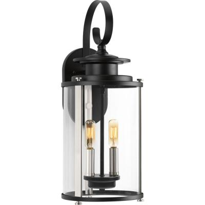 Squire Collection 2-Light Black 19.25 in. Outdoor Wall Lantern Sconce