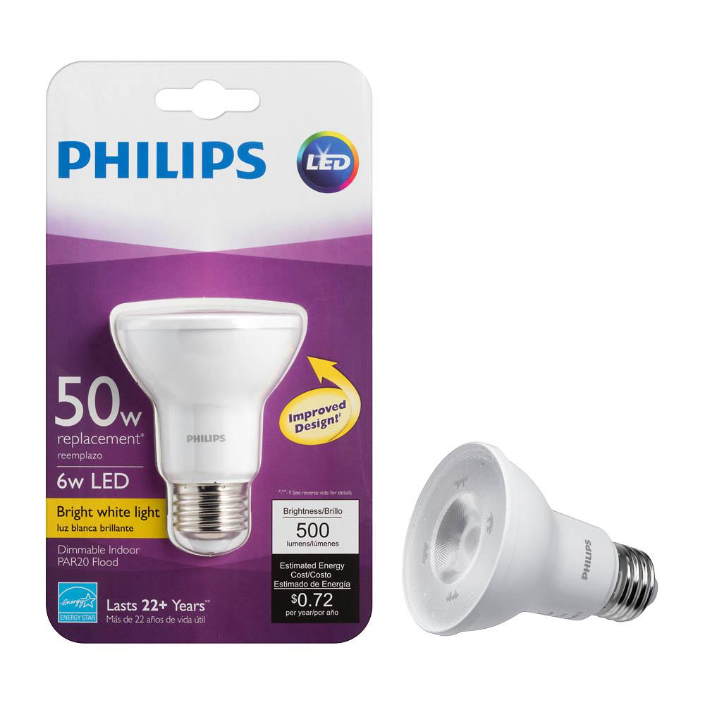 Philips 50w Equivalent Bright White Par20 So Household Led Flood Light Bulb 4 Pack 463620