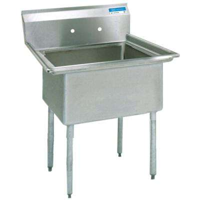 18/304 Stainless Steel Freestanding Single Bowl Kitchen Sink 19 in. L with Drain, 8 in. O.C SM Faucet Holes, Galv. Legs