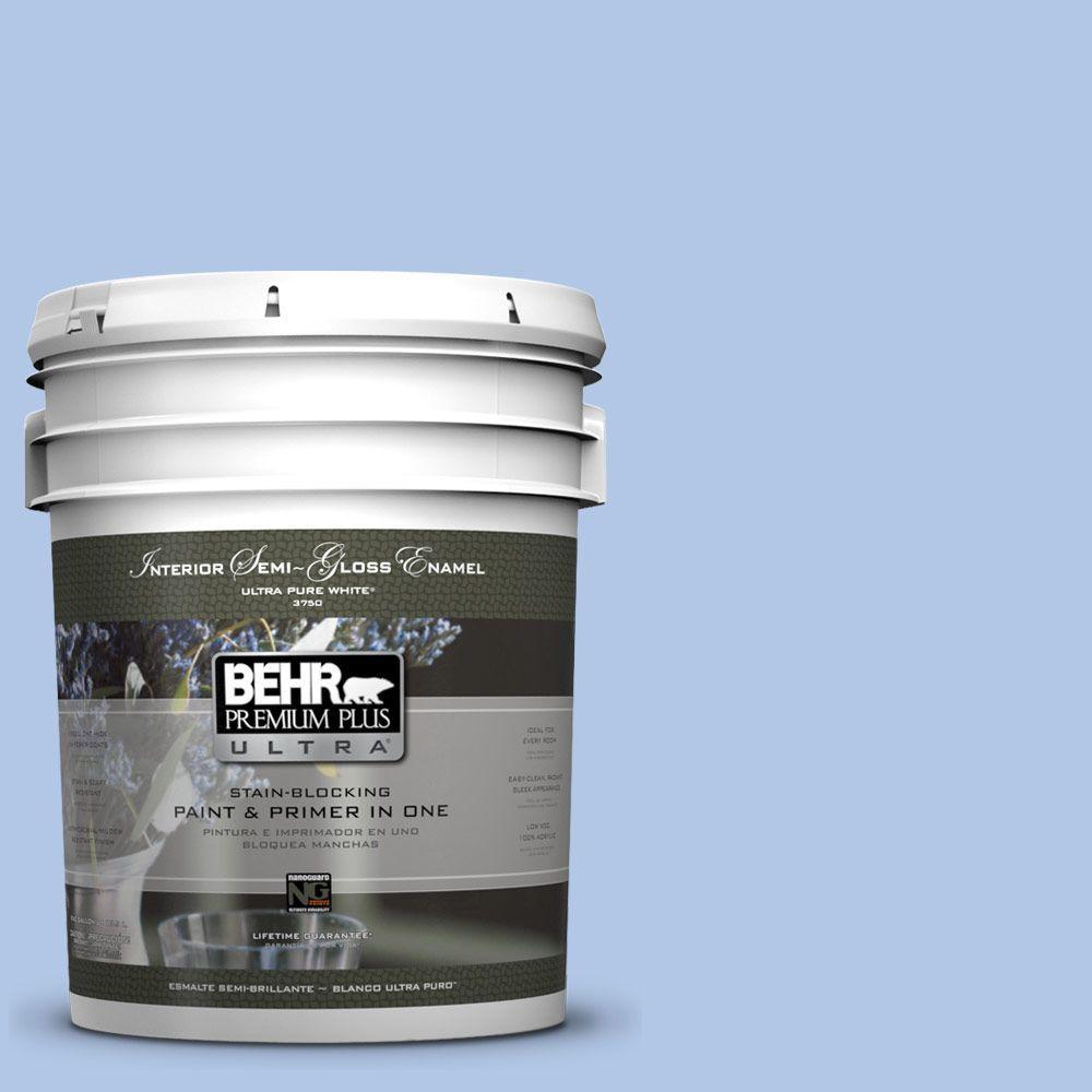 5-gal. #580B-4 Ocean Dream Semi-Gloss Enamel Interior Paint