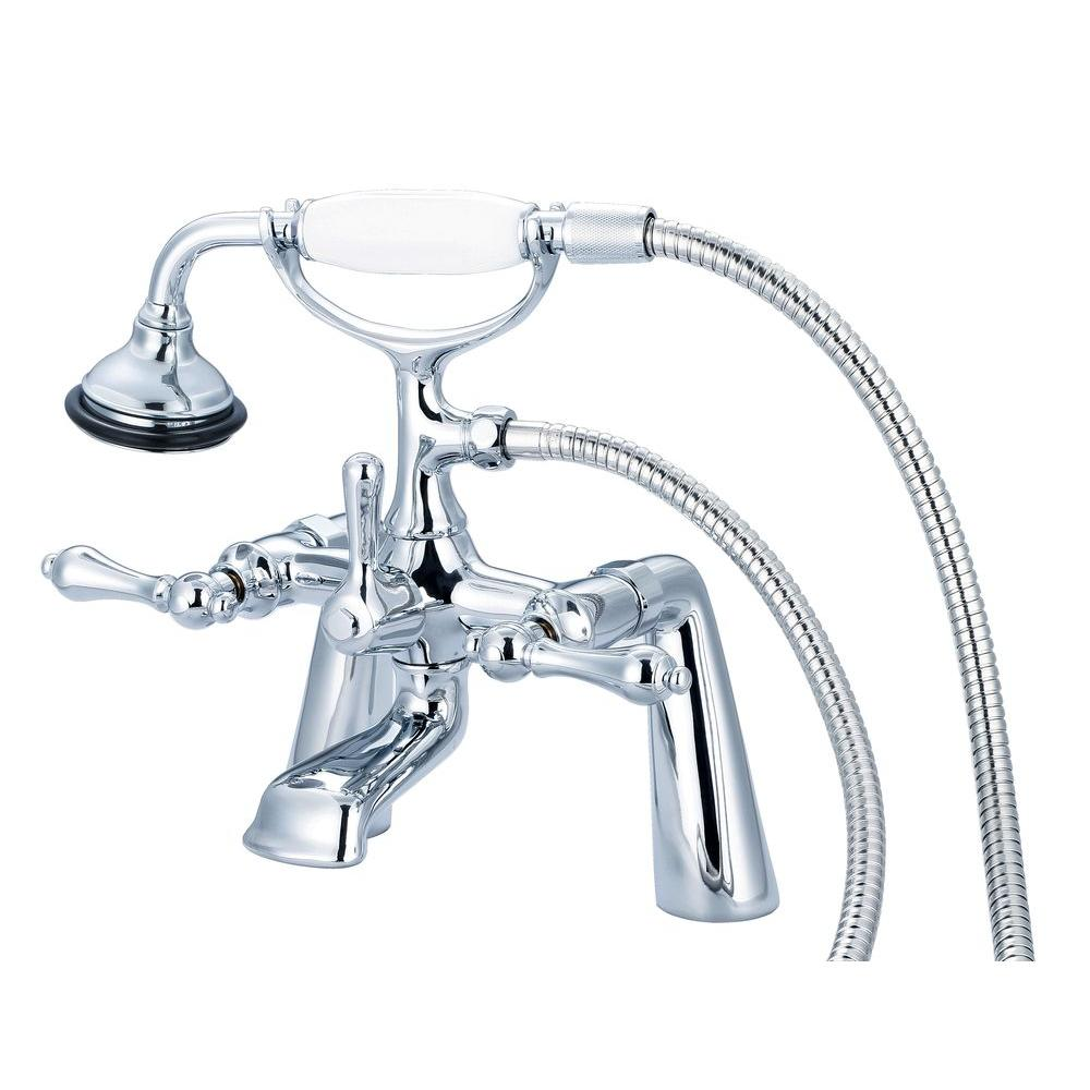 Water Creation 3-Handle Vintage Claw Foot Tub Faucet with Handshower and Lever Handles in Triple Plated Chrome