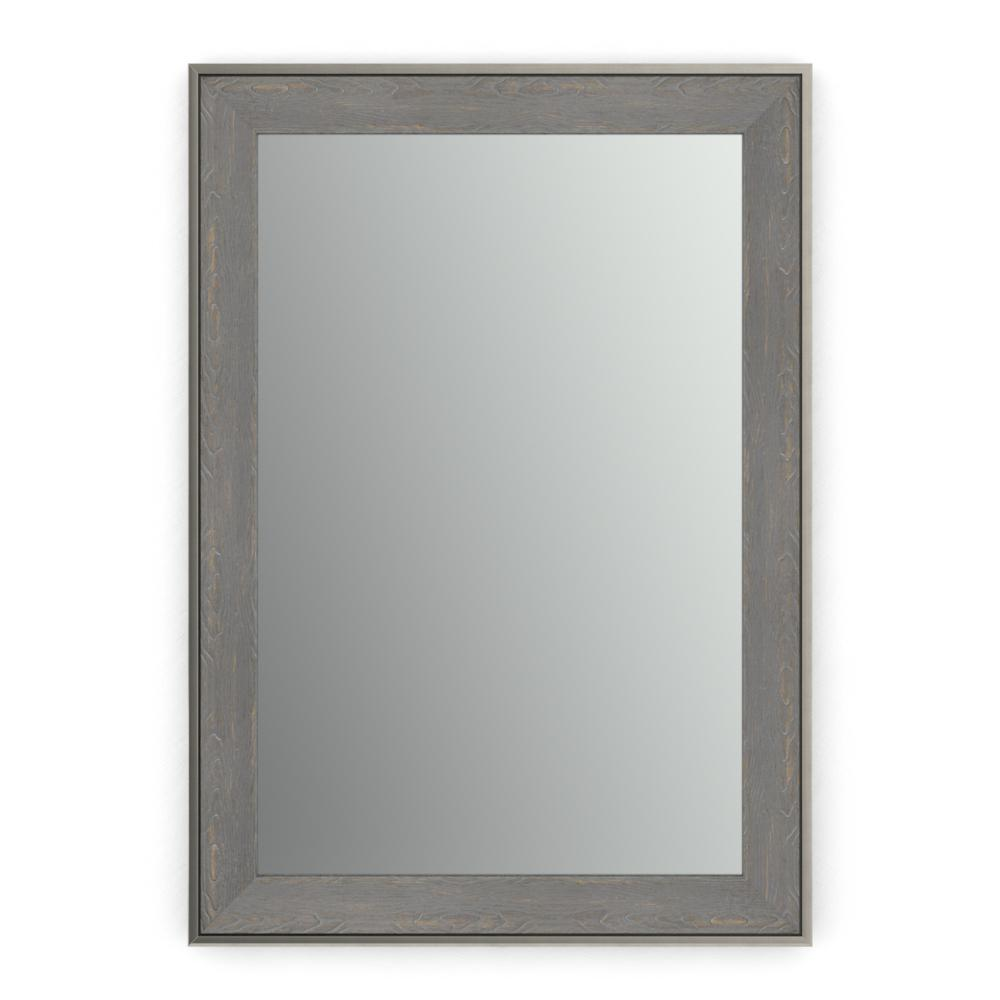 Delta 29 in. x 41 in. (M3) Rectangular Framed Mirror with Standard Glass and Easy-Cleat Float Mount Hardware in Weathered Wood