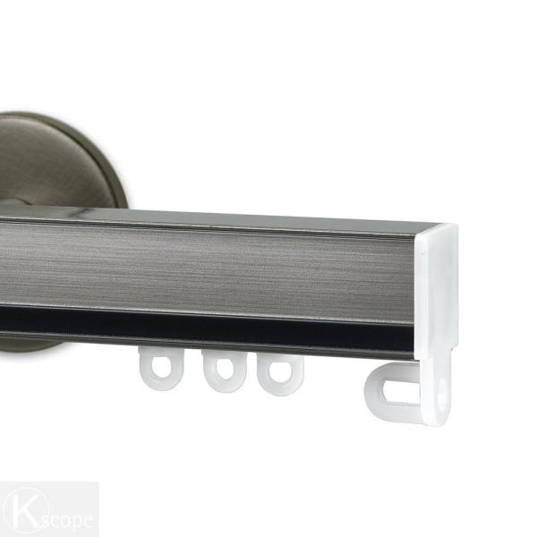 Nexgen 48 in. Non-Adjustable Single Traverse Window Curtain Rod Set in Antique Silver with Pewter Applique