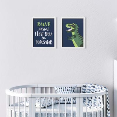 13 in. x 17 in. Rawr Means I Love You Dinosaur Framed Wall Art (Set of 2)