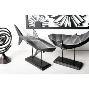 Shark Polystone Sculpture with Iron Stand by