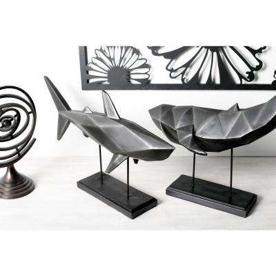 Shark Polystone Sculpture with Iron Stand
