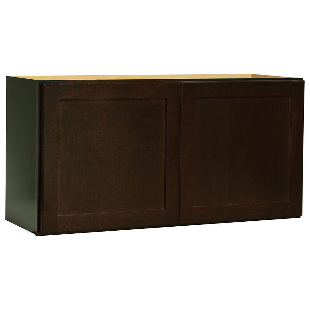 Shaker Assembled 36x18x12 in. Wall Bridge Kitchen Cabinet in Java