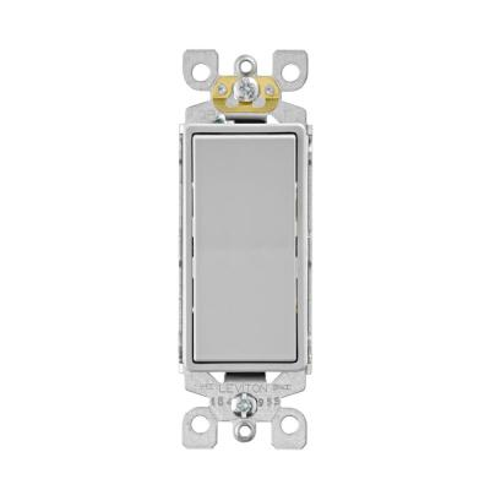 Decora 15 Amp Single-Pole Ac Quiet Rocker Switch, Light Gray