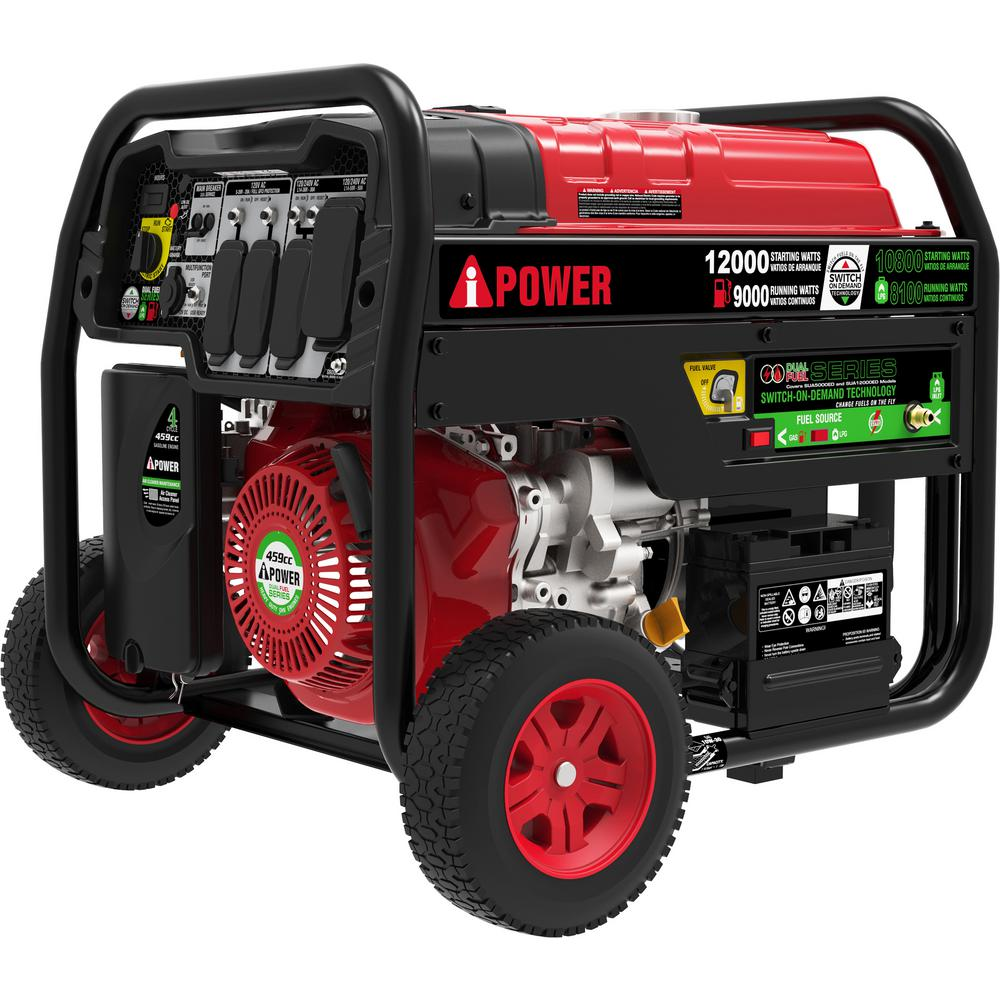 9,000-Watt Dual Fuel Powered Electric Start Portable Generator