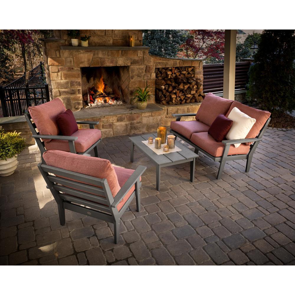 Grant Park Slate Grey 4-Piece Plastic Patio Conversation Deep Seating Set with Rumba Silver Garnet Cushions