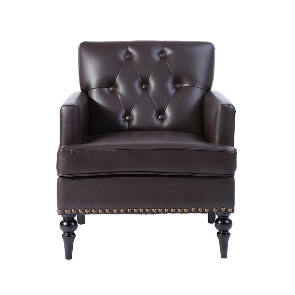 Patten Brown PU Tufted Nail Head Arm Chair