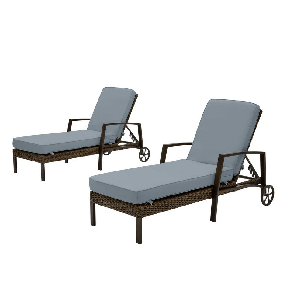 Hampton Bay Whitfield Dark Brown Wicker Outdoor Patio Chaise Lounge with Sunbrella Denim Blue Cushions (2-Pack) was $799.0 now $607.24 (24.0% off)