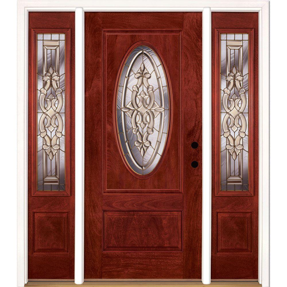 67.5 in.x81.625in.Silverdale Brass 3/4 Oval Lt Stained Cherry Mahogany Lt-Hd