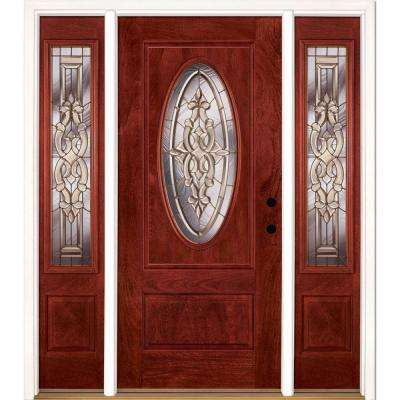 67.5 in.x81.625in.Silverdale Brass 3/4 Oval Lt Stained Cherry Mahogany Lt-Hd Fiberglass Prehung Front Door w/ Sidelites