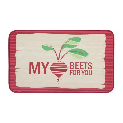 My Heart Beets 18 in. x 30 in. Faux Leather Anti Fatigue Gelness Kitchen Mat
