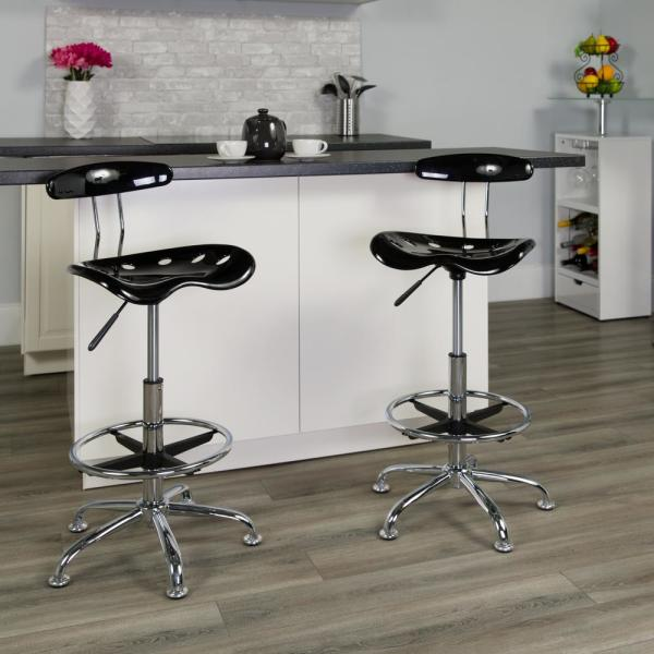 Carnegy Avenue Carnegy Avenue Vibrant Black and Chrome Drafting Stool with