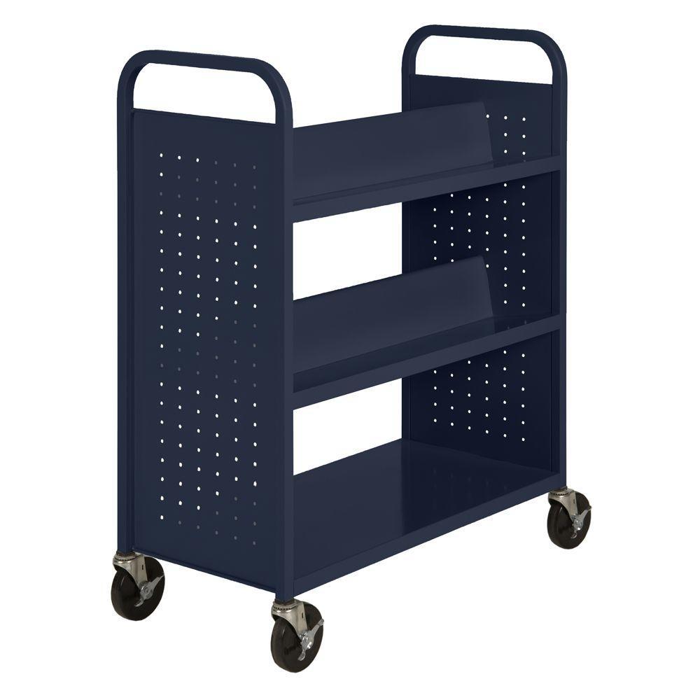 Sandusky Navy Mobile Steel Bookcase