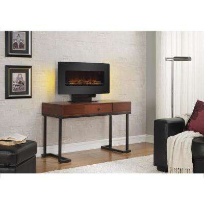 Matias 36 in. Glass Front Wall/Stand Electric Fireplace in Black