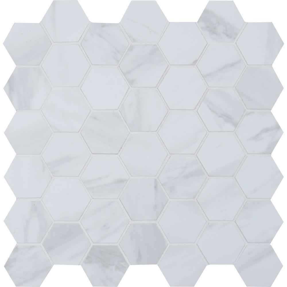 . Kolasus White Hexagon 12 in  x 12 in  x 10mm Matte Glazed Porcelain  Mesh Mounted Mosaic Tile  8 sq  ft    case