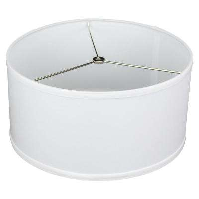 Fenchel Shades 14 in. Top Diameter x 14 in. Bottom Diameter x 7 in. Height, Drum Lamp Shade - Linen White
