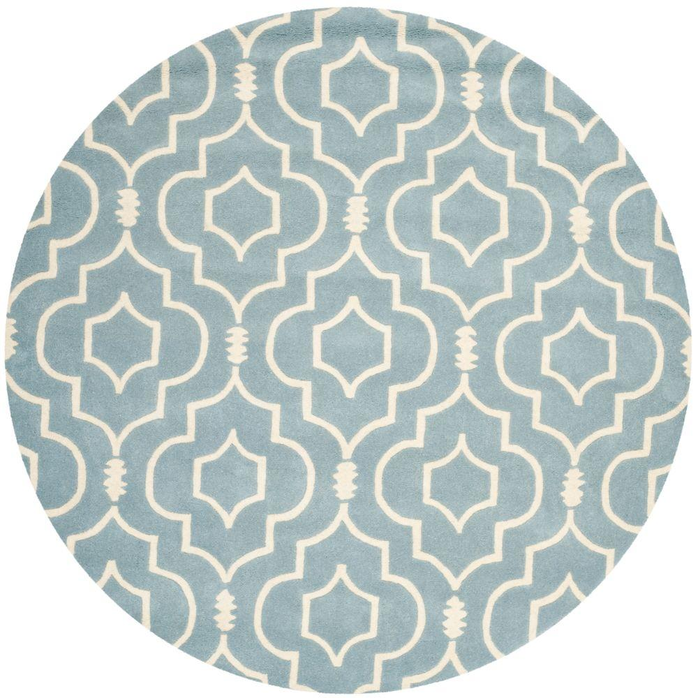 Safavieh Chatham Blue Ivory 7 Ft X Round Area Rug