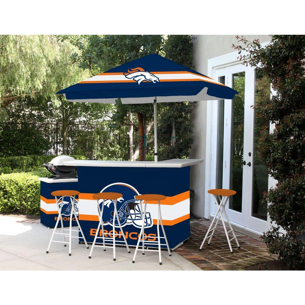 Best of Times Denver Broncos 6-Piece All-Weather Patio Bar Set with 6 ft. Umbrella