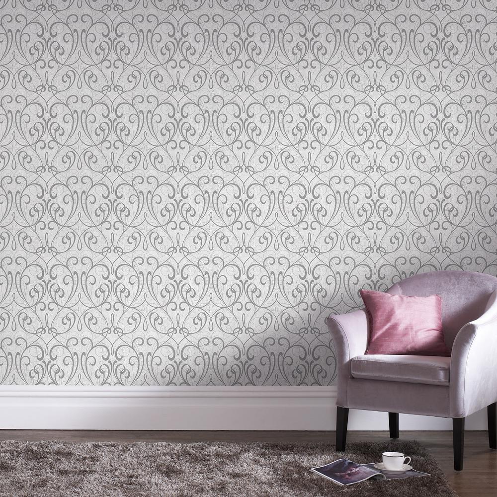 Kyoto Cork Damask Light Gray / Silver Wallpaper