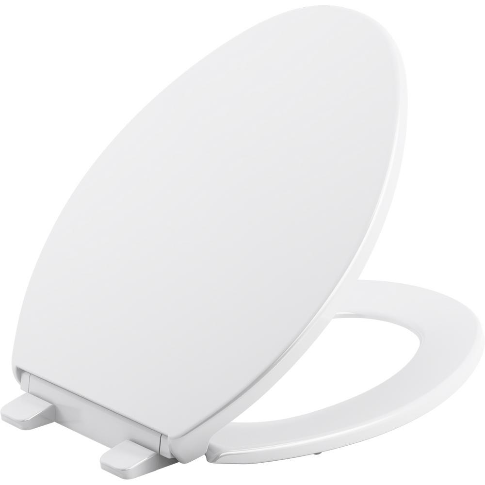 Peachy Kohler Brevia Elongated Closed Front Toilet Seat In White Machost Co Dining Chair Design Ideas Machostcouk