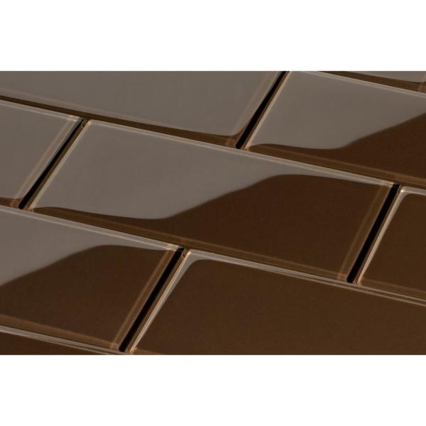 Giorbello Classic Brown 3 In X 6 In X 8 Mm Glass Subway Tile 5 5 Sq Ft Case G5932 The Home Depot