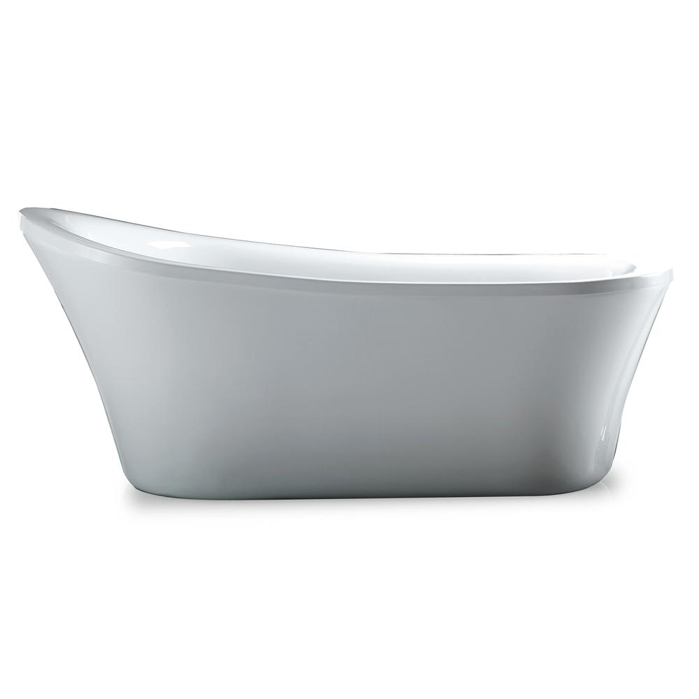 Reversible Drain Bathtub In White