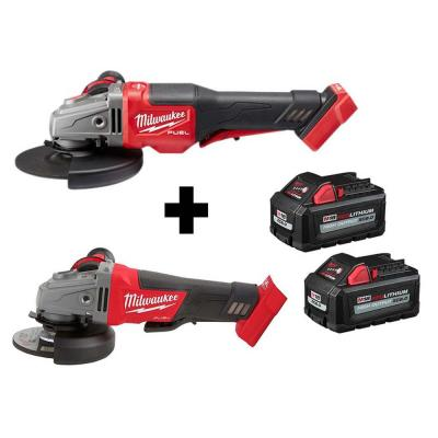 M18 FUEL 18-Volt 4-1/2 in./5 in. Cordless Grinder with Paddle Switch with Braking Grinder & (2) M18 6.0 Batteries