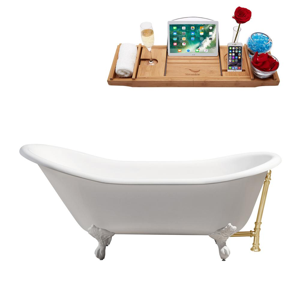 66.9 in. Cast Iron Clawfoot Non-Whirlpool Bathtub in White