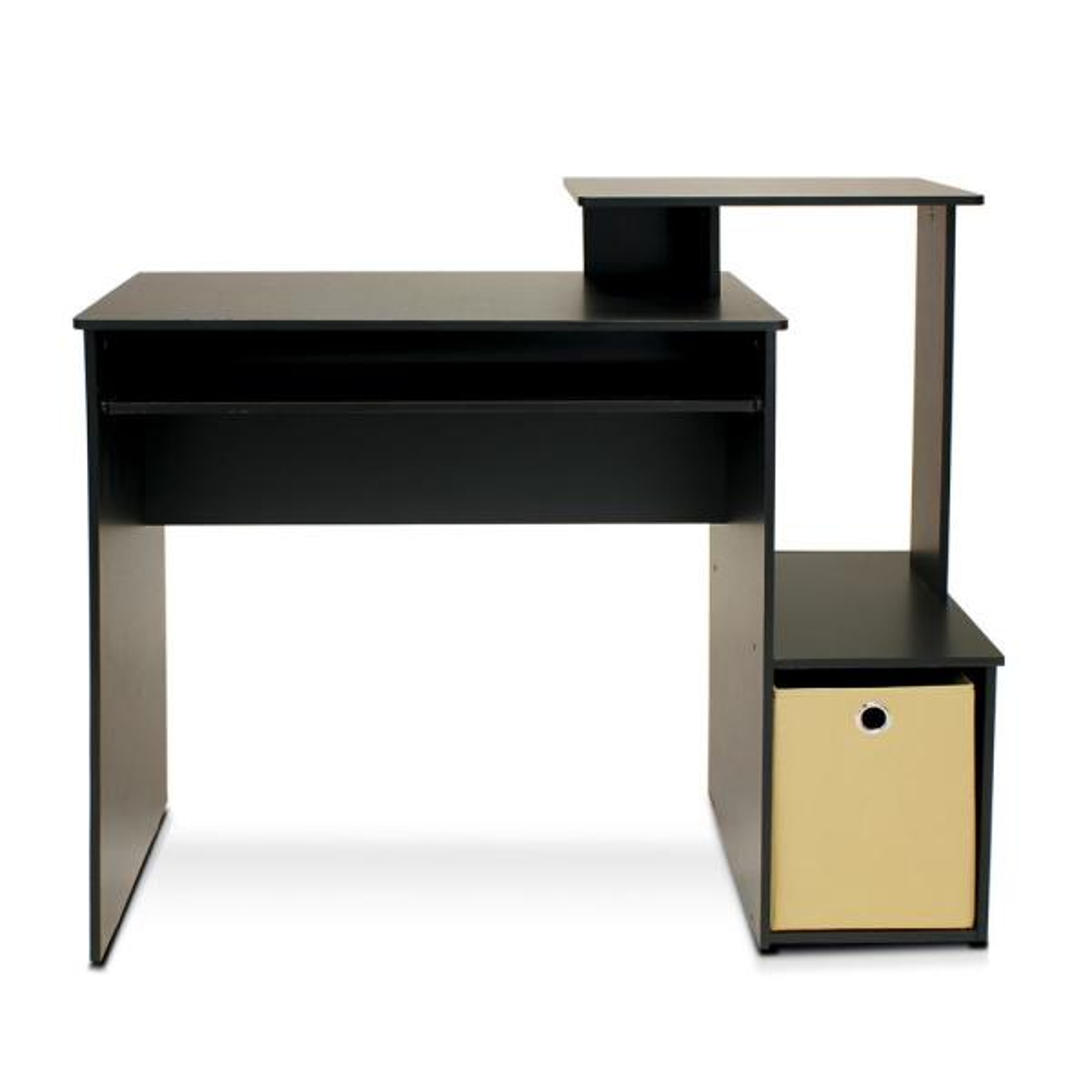 Furinno Econ Black/Brown Computer Writing Desk with Bin 12095BK/BR