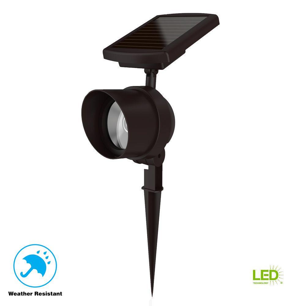 Solar Bronze Outdoor Integrated LED Color Changing Smart-Focus Landscape Spot Light